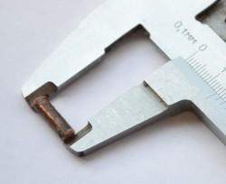 Измерение длины заготовки оси шарнира