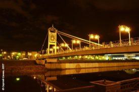 вечерний Белгород, мост через реку Везёлка у набережной НИУ БелГУ