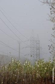 Опоры ЛЭП в тумане