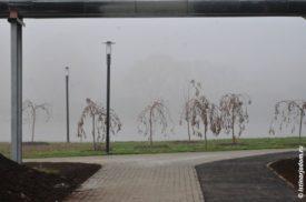 Туман на берегу, вид из-под трубы